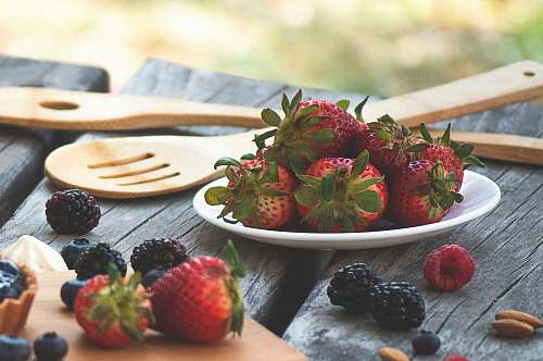 fruit pile of strawberries plant