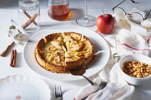 cake plate of cooked food apple