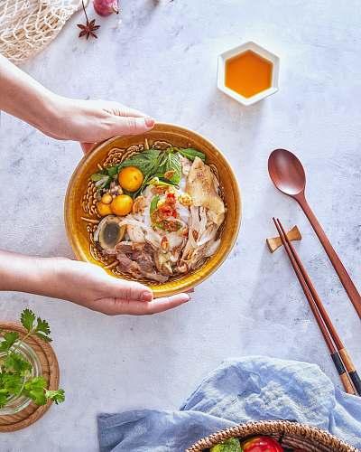 meal ramen in brown ceramic bowl bowl