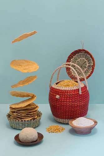 basket red and white wicker basket tortilla