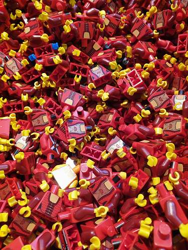 confectionery red and yellow plastic block lot sweets