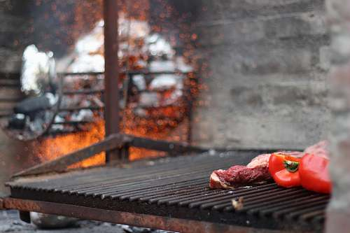 bbq red bell pepper on grill meat