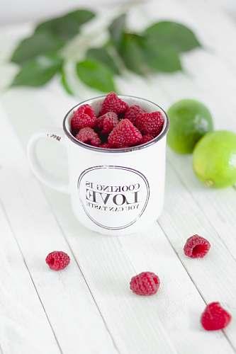 fruit red fruit in white mug raspberry