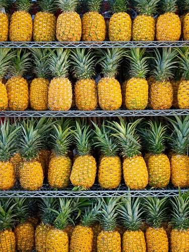 plant ripe pineapple fruits on shelf pineapple