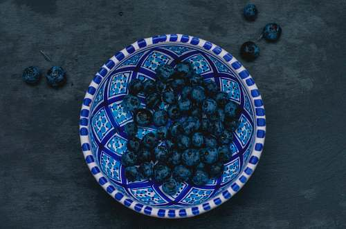 meal round blue ceramic plate dish