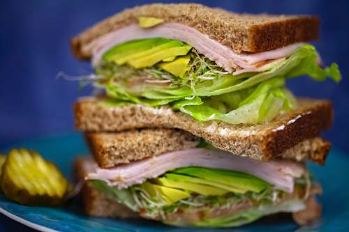 sandwich sandwich with ham and green vegetables burger