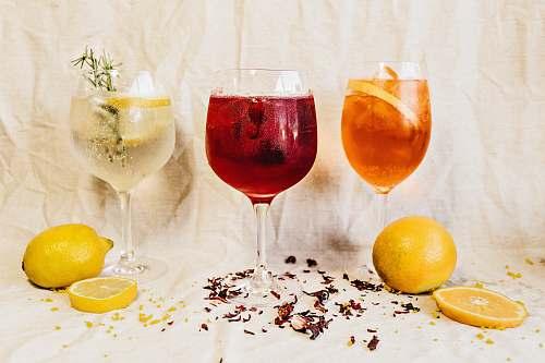 glass several glasses of cocktails orange