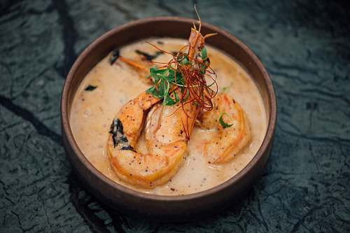 meal shrimps with cream in bowl bowl