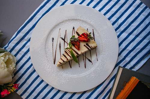 dish sliced cake in plate on table meal