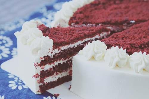 creme sliced red velvet cake dessert
