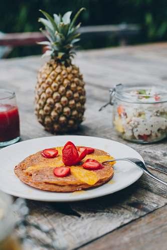 fruit sliced strawberries pineapple