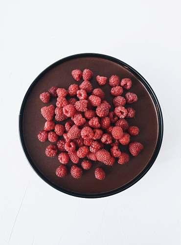 fruit strawberries on tray raspberry