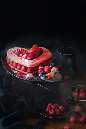 plant strawberry cake on tray raspberry