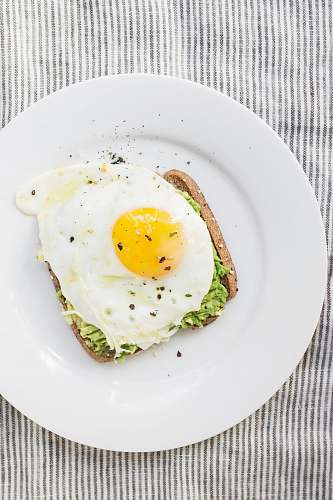 photo breakfast sunny side up egg, lettuce, bread on white ceramic plate healthy free for commercial use images