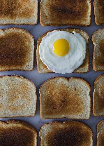 breakfast sunny side up egg on toasted breads toast