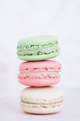 sweets three assorted-flavor macarons confectionery