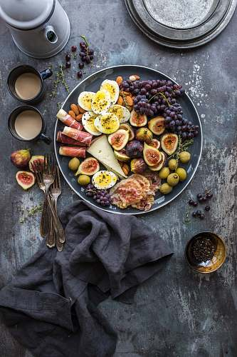 healthy top view photography of fruits in plate breakfast