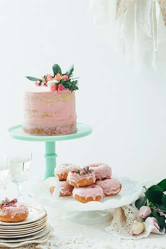 dessert tray of doughnut cake
