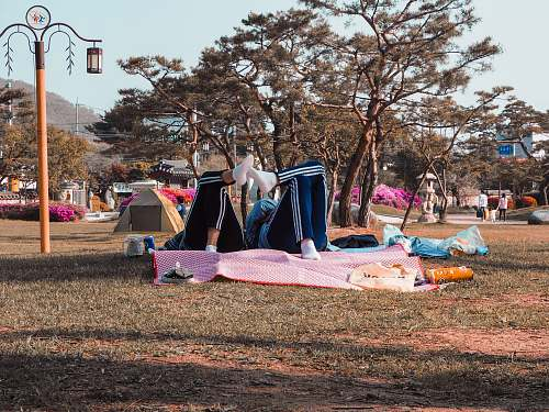 meal two people lying on pink mat in park vacation