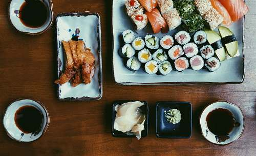 meal variety of cooked foods sushi