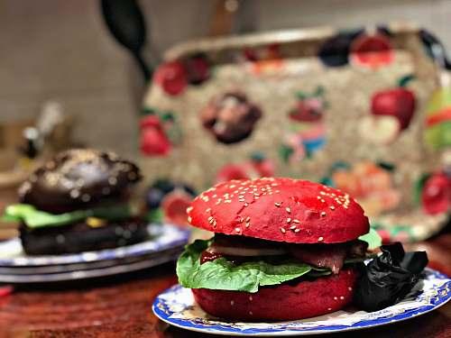 burger white and red ceramic plate yerevan