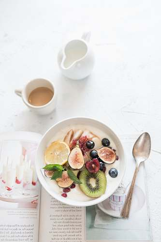 meal white ceramic plate beside gray steel spoon breakfast