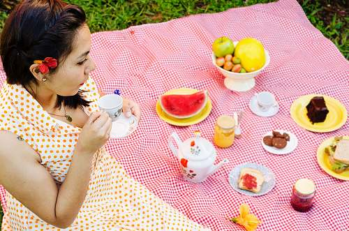 meal woman on a picnic vacation