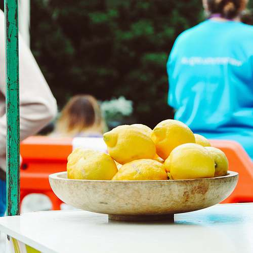 fruit yellow lemons in bowl citrus fruit