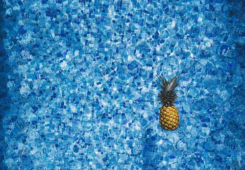pineapple aerial view photography of pineapple on body of water blue