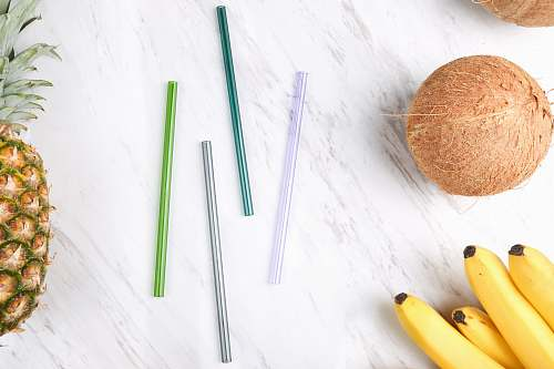 photo food four assorted-color straws beside coconut, bananas, and pineapple pineapple free for commercial use images
