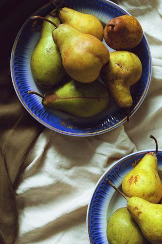 plant pears fruits on plates food
