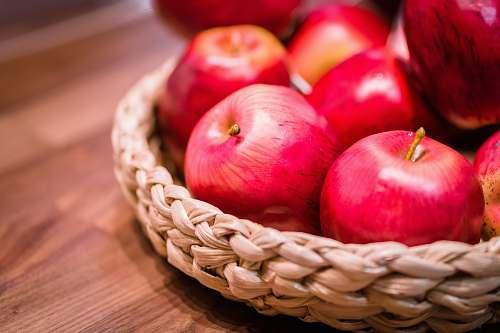 food red apples in brown wicker baskets apple