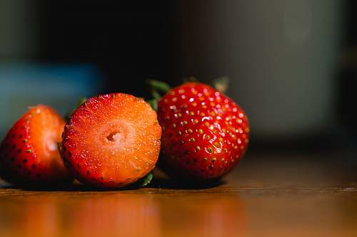 plant red strawberries food