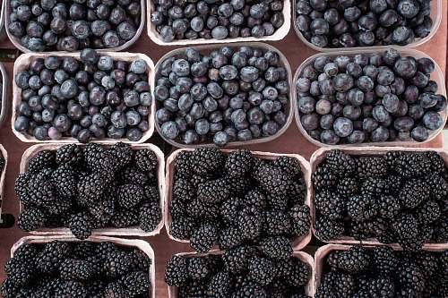 food pile of mulberries and blueberries fruit