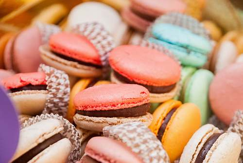 food assorted-color macarons confectionery