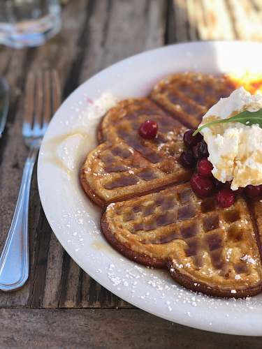 food selective focus photography of belgian waffle on plate bread