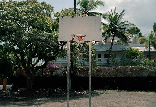 basketball court white basketball hoop outdoor vase