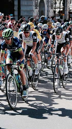 bike group of people riding road bike is about to begin the race cyclist