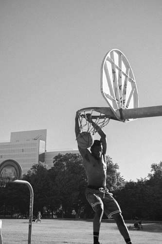 human grayscale photography of man playing basketball person