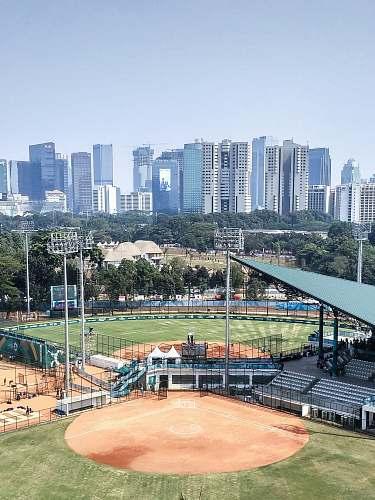 outdoors aerial photography of baseball stadium during daytime nature