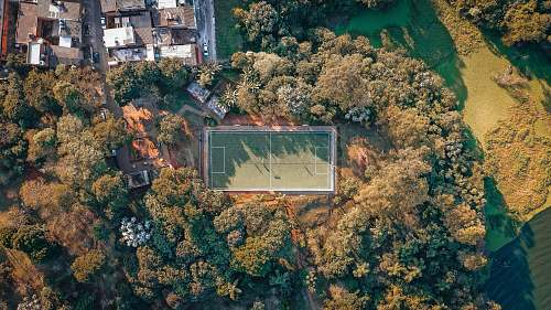 landscape aerial photography of football field nature