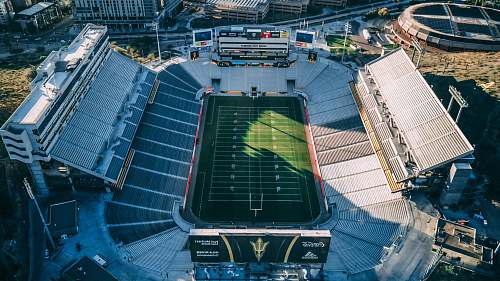 stadium aerial photography of football field building