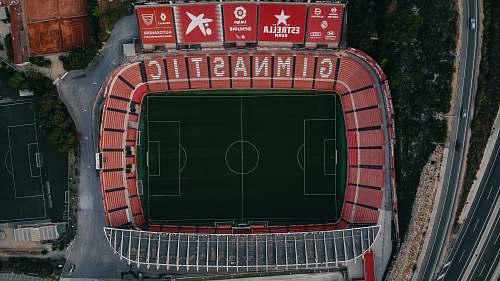 stadium aerial photography of football stadium building