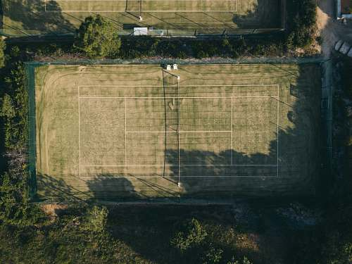 building aerial view of tennis court france
