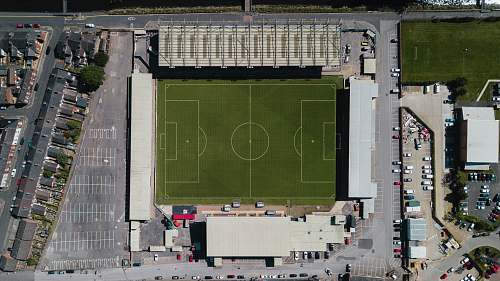 stadium green soccer field building