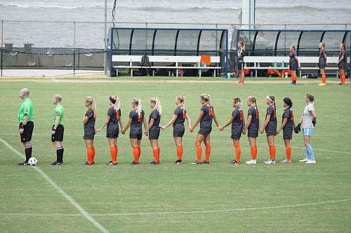 soccer line of girl football players naval academy