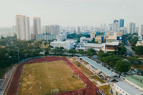 field aerial photography of soccer field building