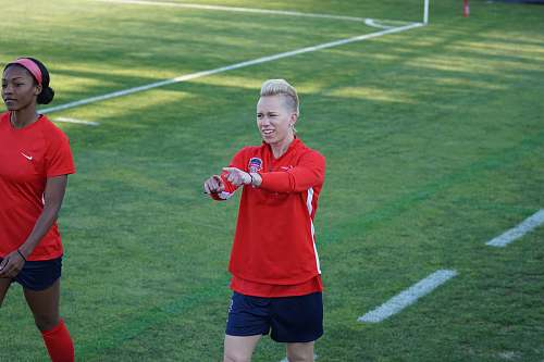 photo person female football player on red shirt apparel free for commercial use images
