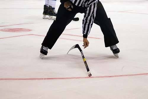 person ice hockey referee on ice rink sport