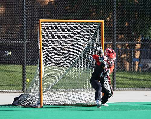 person man in red helmet holding stick near goal net people